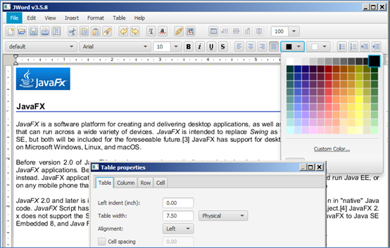 Rich Text Editor for JavaFX