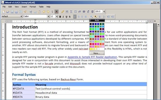 JWord Rich Text Editor for Java